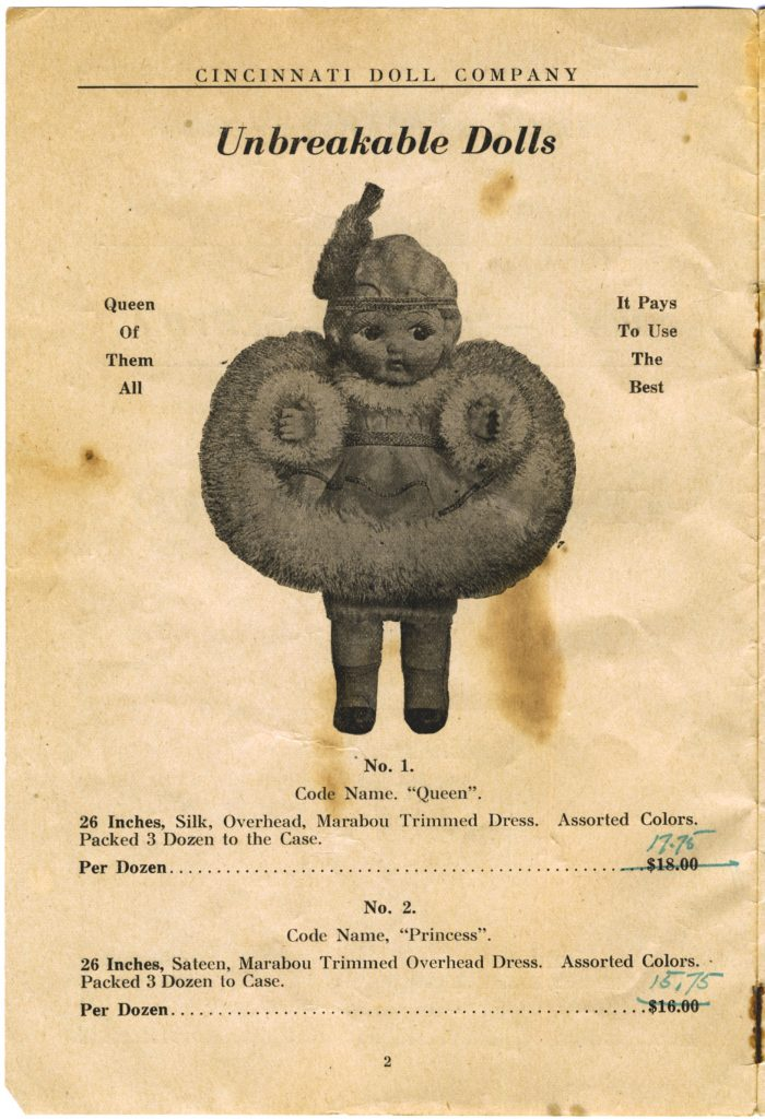 Cincinnati Doll Co. catalog, page 2