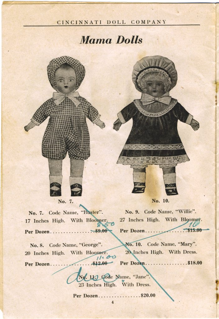 Cincinnati Doll Co. catalog, page 4