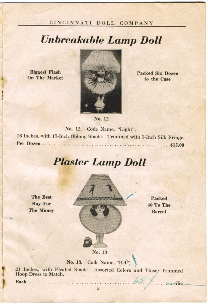 Cincinnati Doll Co. catalog, page 5