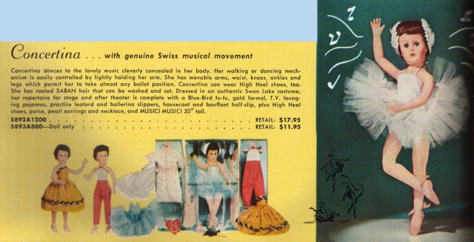 Concertina – Musical Ballerina Doll by Valentine (1958)