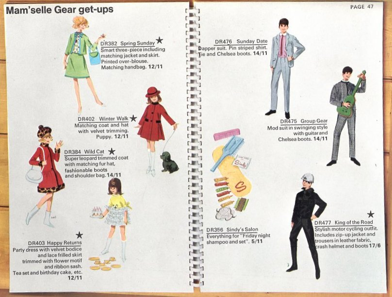 Catalog Illustrations for Mam'selle Outfits for Sindy, Paul and Patch (1966)