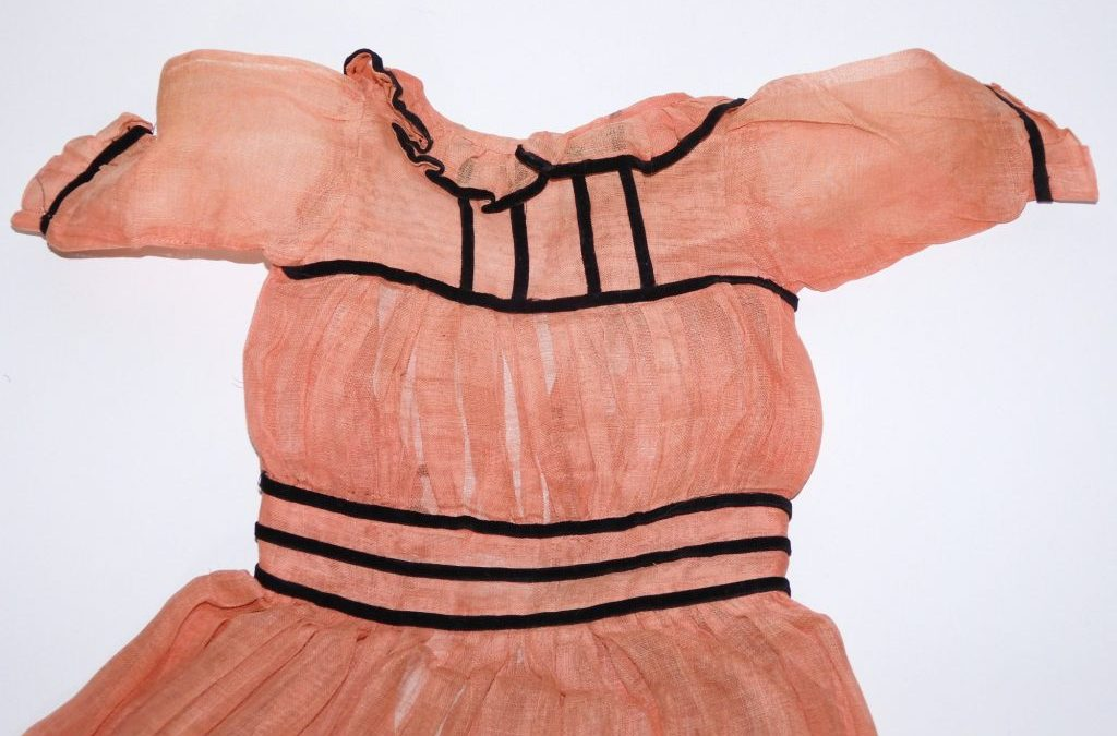 Antique Dress for Large Doll – Orange w/ Black Velvet Ribbon Trim